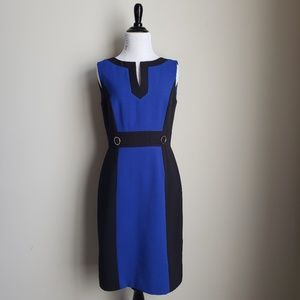 Tahari ASL black and blue colorblock shift dress